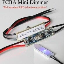 10 шт. в партии, светодиодный PCBA мини сенсорный диммер для светодиодный алюминиевый профиль, вход/выход: 12-24 В DC