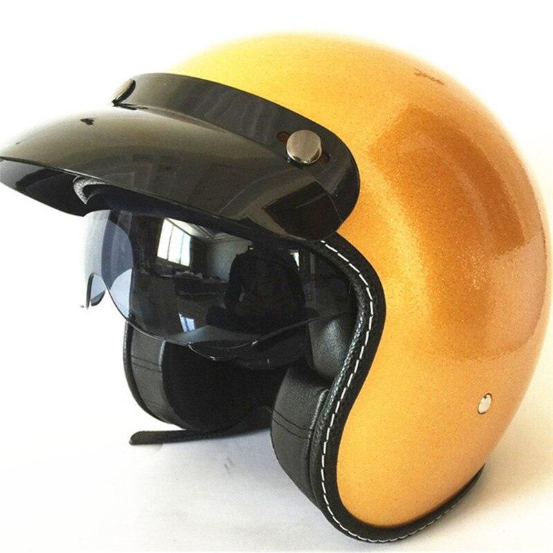 harley casco moto vintage motorcycle helmet capacetes de motociclista punk cafe racer open face gold color