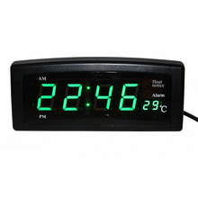Desktop LED Digital Clock Electronic Alarm Clocks Hourly Chime Clock with Temperature Date and Week for Home Shelf Office Table