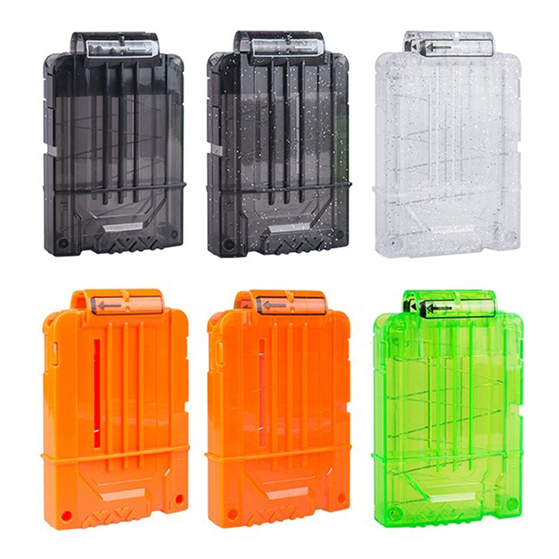 Universal 6 Reload Clip Magazines Gun Bullet Clip Replacement Plastic Magazines Toy Gun Soft Bullet Clip For Toy Gun For Nerf