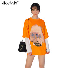 NiceMix Women Fashion Printed Tee Shirts Loose O-neck Hip Hop T Shirt New Cotton Casual Skateboard High Street Couple Tees Stree