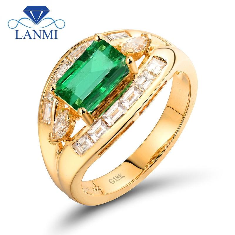 Lanmi Pure Diamond 6X8Mm Emerald Minimize 18Okay Yellow Gold Emerald Gemstone Girls Rings For Engagement Celebration Women High-quality Jewellery