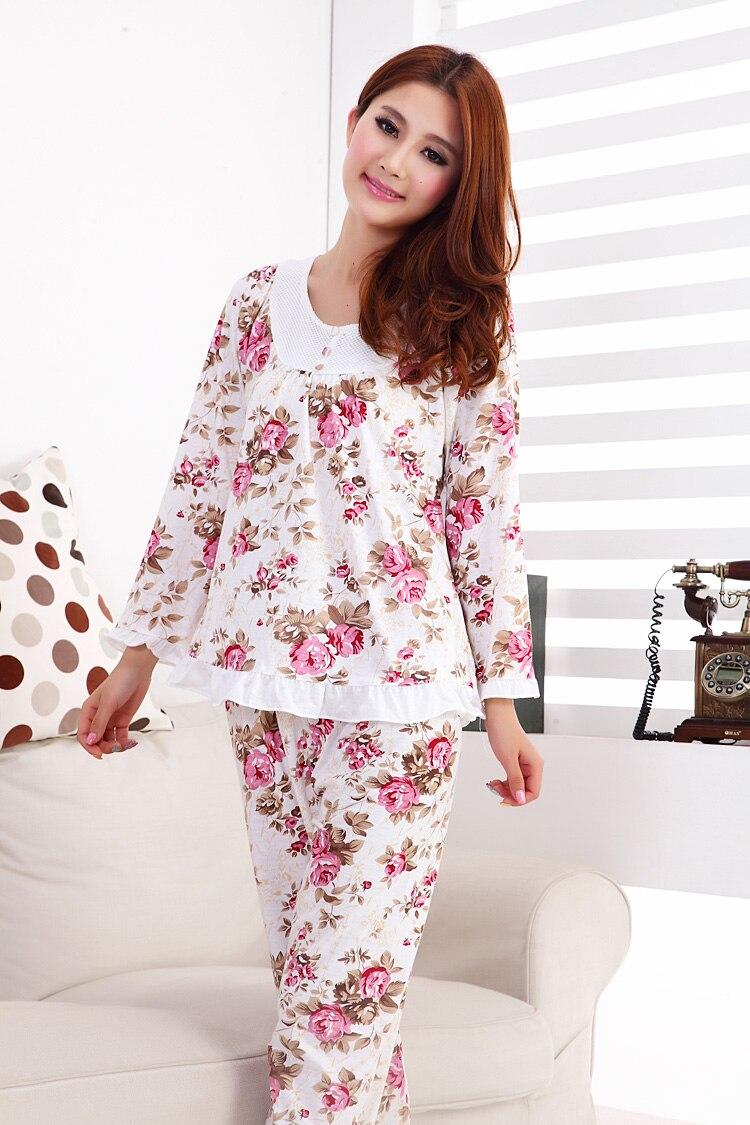 Foply 2018 Fashion Style Cotton Women Sleepwear Floral Women Pajama Sets Long-sleeve Elegant Lady Pajamas Nightgown Sleepwear
