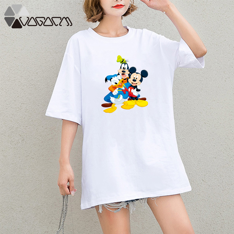 Summer Clothes Women Casual Donald Duck Goofy Mickey Mouse Cartoon Tops Tshirt Short Sleeve Tees Plus Size T Shirts