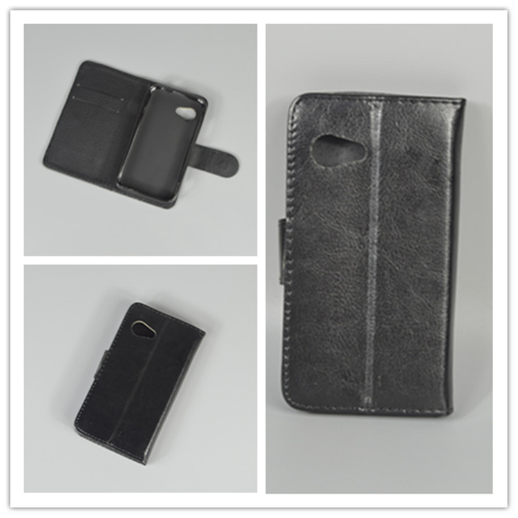 Crystal grain wallet case hold two Cards with 2 Card Holder and pouch slot For Micromax Bolt A79