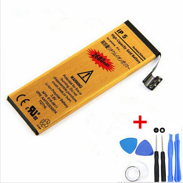 New High Capacity Genuine 0 Cycle [2680mAh] Replacement Li-ion Battery For Apple iPhone 5 battery with 8 pcs kit tools