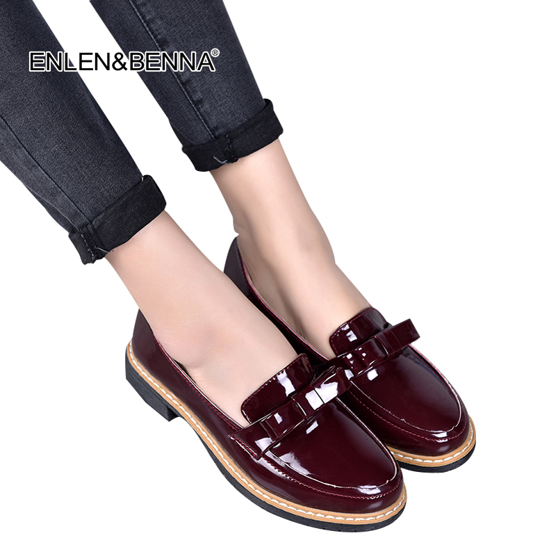 2017 Spring/Autumn Slip On Round Toe Flat Women Shoes Solid Color Bowtie Shallow Mouth Patent Leather Shoes Size 35-40 Black Red size 35 39 pointy toe flat platform shoes pigskin leather shoes black white color slip on women s shoes