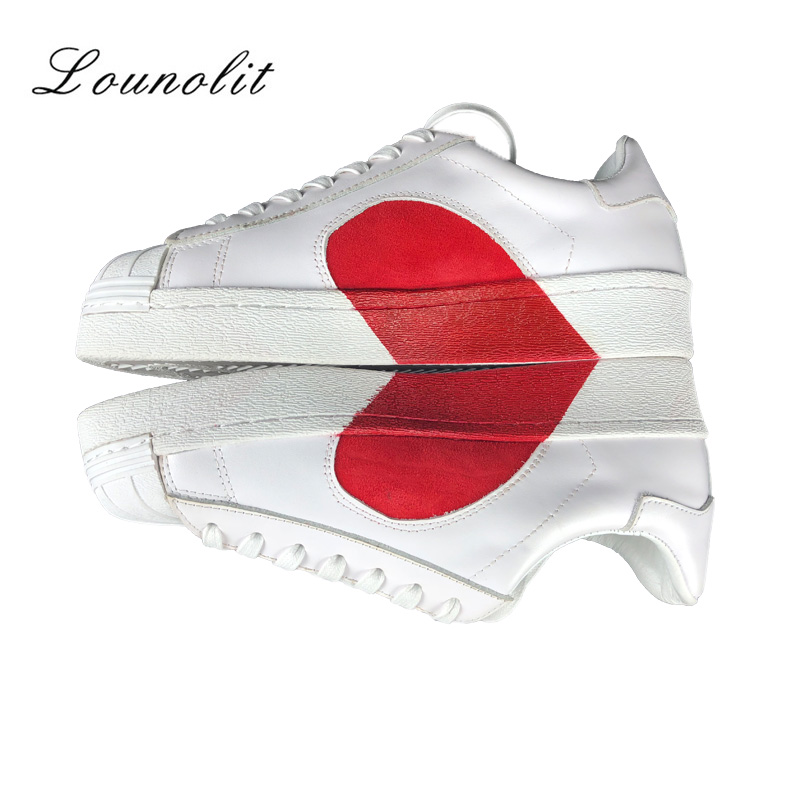 2018 New Fashion White Sneakers Shoes Genuine Leather Flat Heart Shoes Casual Shoes Lace Up Comfortable Mixe Colors Women Shose