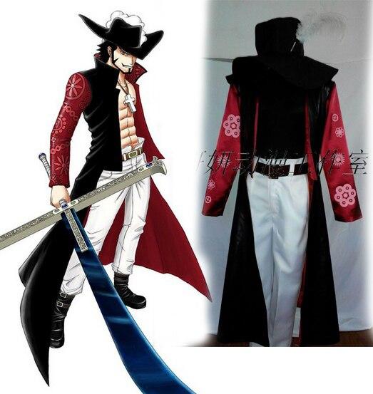 One Piece Dracule Mihawk Cosplay Costume Set Pant+coat+hat