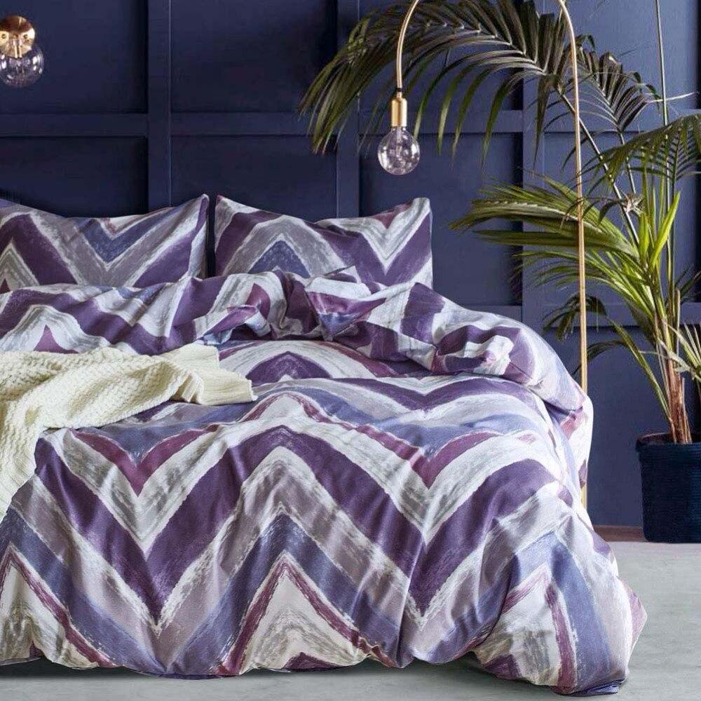 Home Textile US King Queen Twin Bedding Sets Boy Girls Adults Bedclothes Purple Wave Stripe Duvet Cover Set Pillowcase Bed Decor