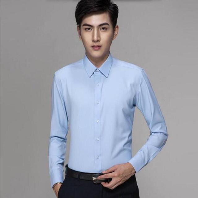Последние мужчины рубашка мягкая жениха свадьба рубашка пром рубашка на заказ синий комфортно формальный рубашка с длинным рукавом