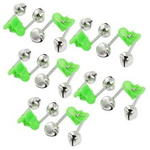 Good deal 10 Pcs Green Spring Loaded Clip Double Fishing Rod Alarm Bells