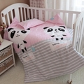 Baby bedding set 3pcs/set crib bedding set new arrival cute panda design 100% cotton for newborn best gift