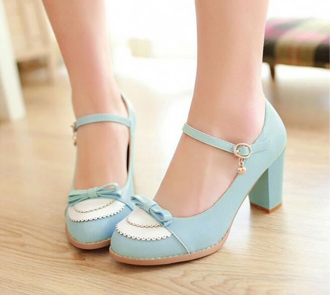 ФОТО 2017 Ladies Leather Thick Heel Pumps Fashion PU Leather Lolita Shoes Bow High Heel Shoes Ladie's Wedding Shoes Plus Size