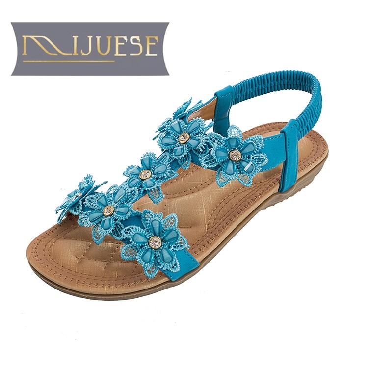 MLJUESE 2018 vrouwen sandalen zomer stijl kristalwit kleur elastische - Damesschoenen