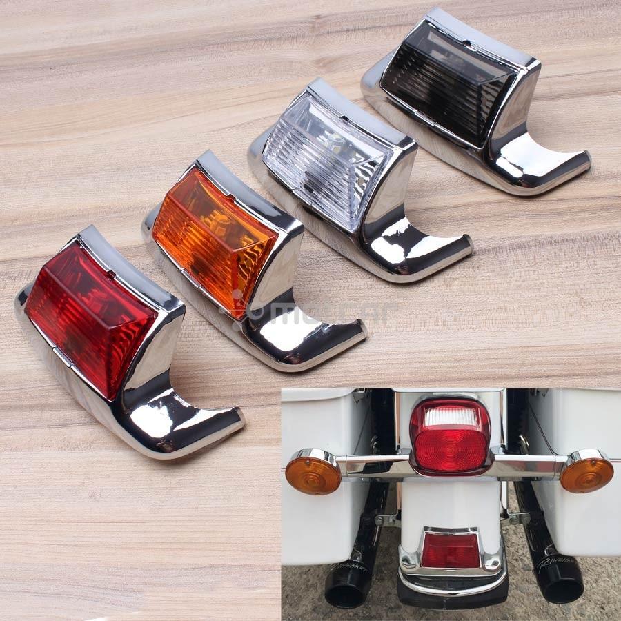 Chrome Motorcycle Smoke/Clear/Amber/Red Lens Rear Fender Tip Light Lamp Edge LED For Harley Glide FLHTCU FLSTC HLHT FLHR FLHRC