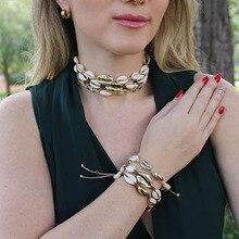 Europa y los Estados Unidos nuevo creativo accesorios natural shell exquisito tejido salvaje hecho a mano collar femenino gift-XL236