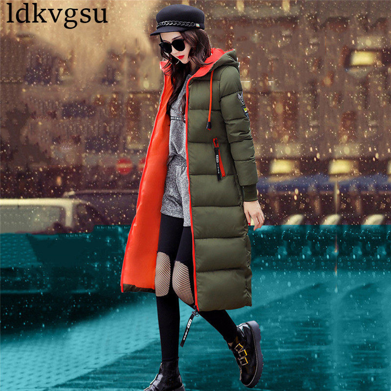2018 Fashion Winter Jacket Long Warm   Parkas   Women Cotton Coat Long Sleeve Hooded Solid Color Women Outerwear Plus Size A781