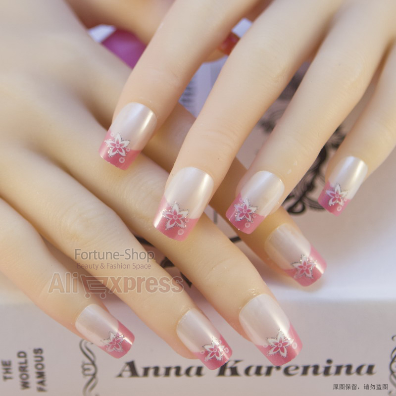 JQ 24pc/set Acrylic Pre designed artificial nail tips nail designs ...