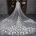 Beautiful 2017 New 3 Meter Veu de noiva Wedding Accessories Flowers One-Layer Cut Edge Cathedral Wedding Veil Bridal Veils