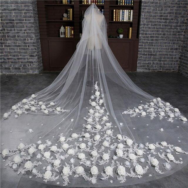 Beautiful  Meter Veu De Noiva Wedding Accessories Flowers One Layer Cut Edge