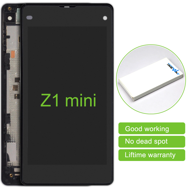 2pcs New Mobile Phone Parts Lcd Display Touch Screen Digitizer With Frame For Sony Xperia Z1 Mini Z1c M51w D5503 Free Shipping