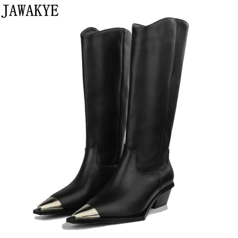 JAWAKYE designer knee high boots Woman Motorcycle Booties pointy toe Metal decor low heel winter knight