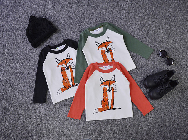2016 new bobo choses fox pattern cotton long sleeved t shirts for kids children clothes boys clothes girls clothes vetement bos
