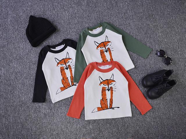 2016 nueva bobo choses fox patrón de algodón de manga larga t camisetas para niños ropa de los niños niños ropa niñas ropa vetement bos