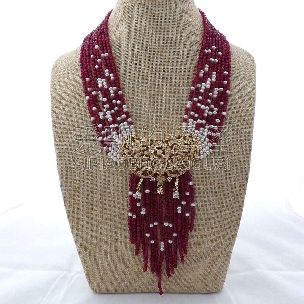 N012904 19 9 brins collier de perles rouges CZ pendentifN012904 19 9 brins collier de perles rouges CZ pendentif
