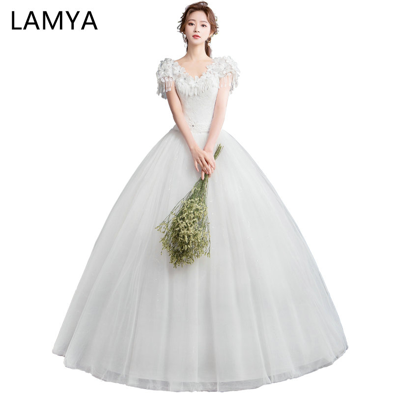 LAMYA 2019 New Appliques With Tassel Wedding Dresses Women