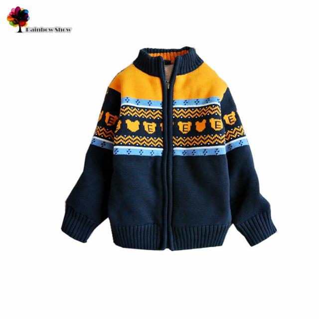 Nova Roupa Das Crianças Outono Inverno Meninos Casaco Grosso Agasalho quente Eurapean Estilo Dos Desenhos Animados Jacquard de Algodão Outwear