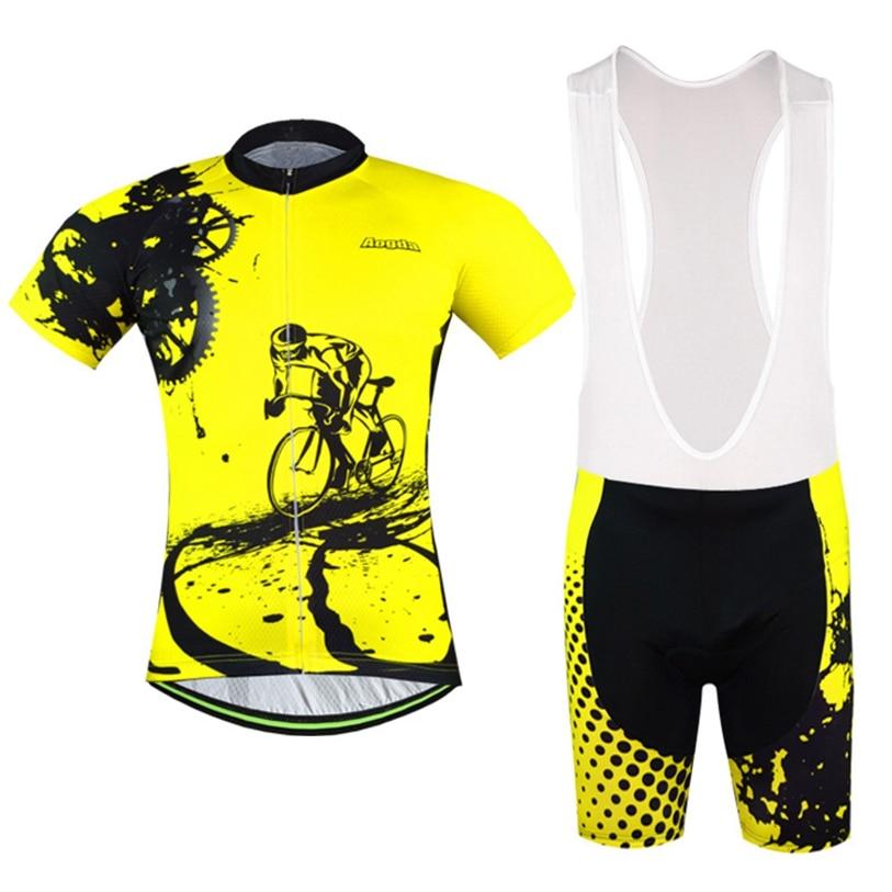 Prix pour Aogda jaune hommes vélo maillot cuissard définit vélo vêtements costumes vélo haut bas Pro Cycling vêtements Shirts vtt vêtements