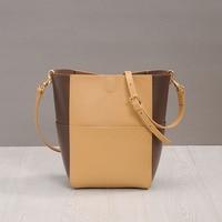Camelia Bucket Bag Genuine Cow Leather Celebrity Messenger Handbag