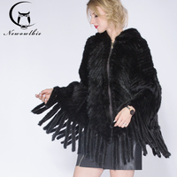 2019 Fashion fur coat Mink knit shawl Women genuine knitting mink coat Lady's hat in winter shawl