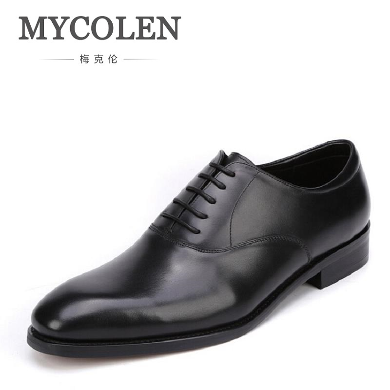 MYCOLEN Brand Design Mens British Oxford Dress Shoes Genuine Leather Handmade Comfortable Black Formal Office Shoes chaussure женская футболка lol pokesplash creat t lol 3038837
