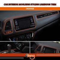 Free shipping 8M Car Interior Console Panel Protector Decorative Styling Trim DIY Strip Luminous Orange Line Easy Install