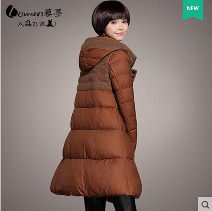 2015 New Hot Winter Thicken Warm Woman Down jacket Coat Parkas Outerwear Hooded Splice Mid Long Plus Size 3XXXL Luxury Cold 2015 new hot winter thicken warm woman down jacket coat parkas outwewear hooded loose brand luxury high end mid long plus size l