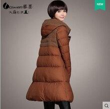 2015 New Hot Winter Thicken Warm Woman Down jacket Coat Parkas Outerwear Hooded Splice Mid Long Plus Size 3XXXL Luxury Cold