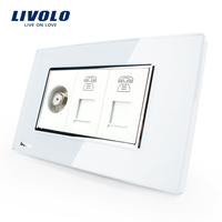 Livolo US Standard Socket 15A AC 125 230V White Crystal Glass Wall Satellite Television With TEL