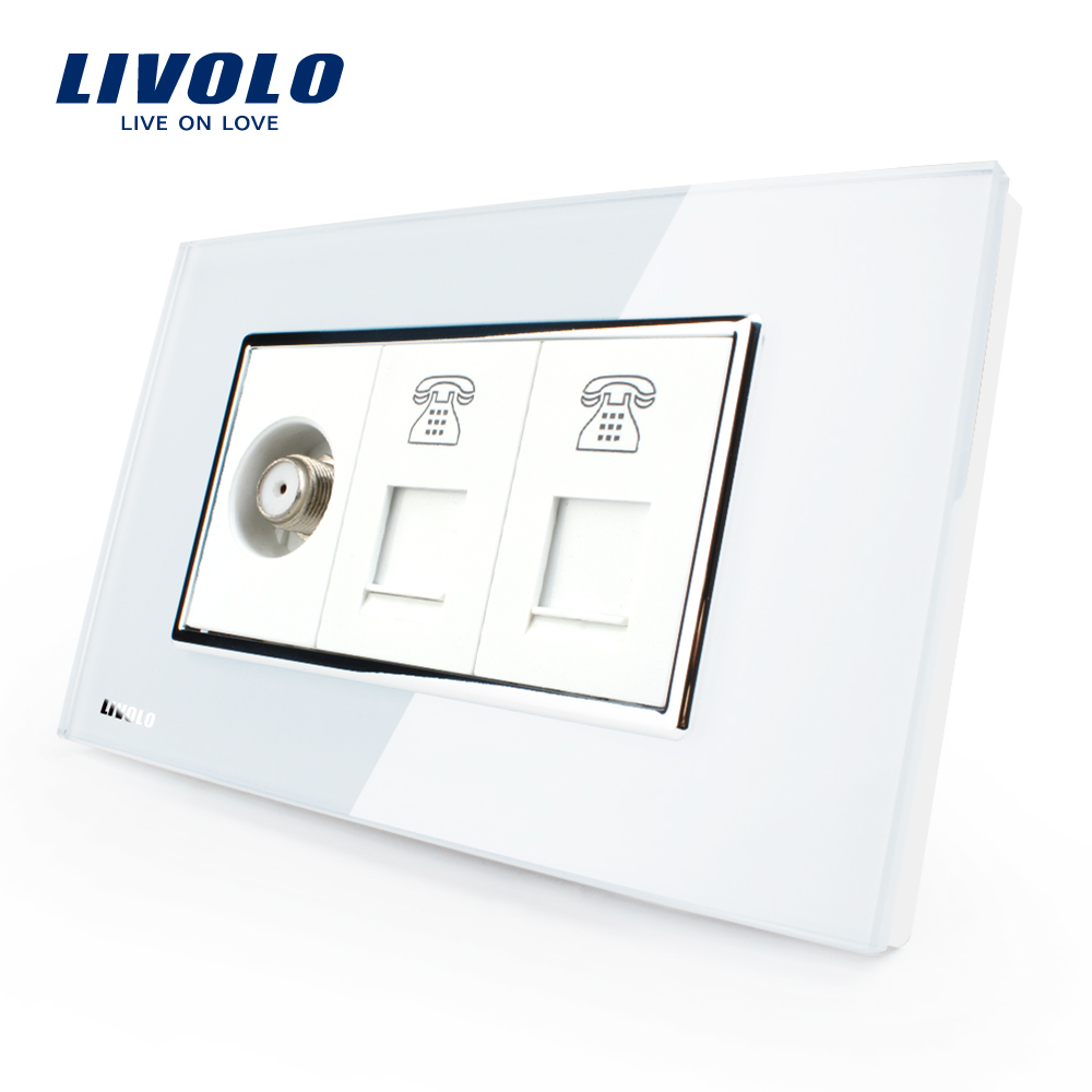 Livolo US Standard Socket, White/Black Crystal Glass, Wall Satellite Television with TEL Sockets,VL-C391STTT-81/82 livolo us standard 2 pins socket white crystal glass 10a ac 125 230v wall powerpoints with plug vl c3c3a 81