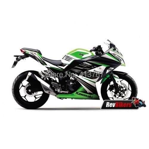US $120 0 |Kawasaki ninja 300 full fairing decals sticker ABS Hijau  Electric Green graphics for Kawasaki Ninja 300 300R 300EX 300 SE-in Decals  &