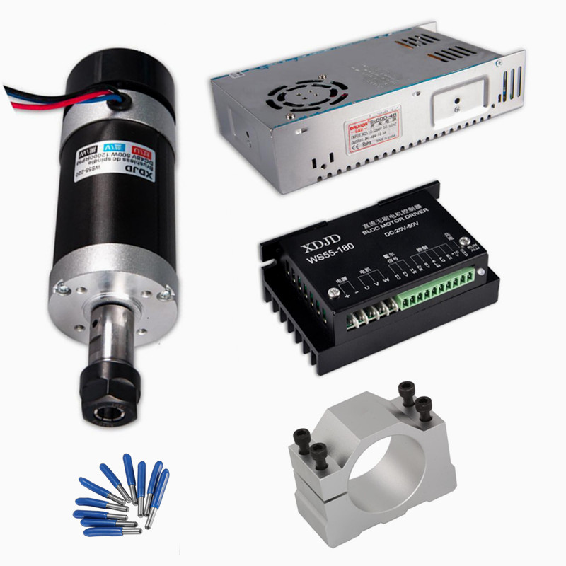 DC CNC Spindle Brushless 400W Air Cooled Spindle Motor Switching Power Supply Motor Driver 55MM Clamp ER11 CNC tools dc48v 400w 12000rpm brushless spindle motor air cooled 529mn dia 55mm er11 3 175mm for cnc carving milling