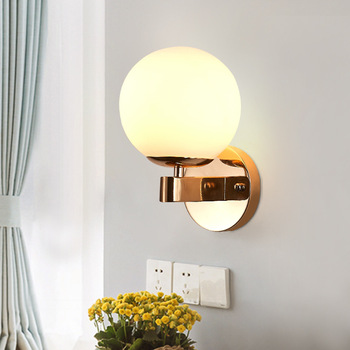 Glass Ball Wall Lighting Fixture Gold Color with E27 Led Bulb Globe Wall Sconce Lamp Modern Design for Bed Bedroom Headboard Entrance Hall Stiars Home Decor