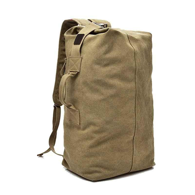 Новинка 2019, Большая вместительная мужская дорожная сумка, повседневный мужской рюкзак, армейский, хаки, черные холщовые сумки, двойная сумка на плечо, мужские сумки-ведро