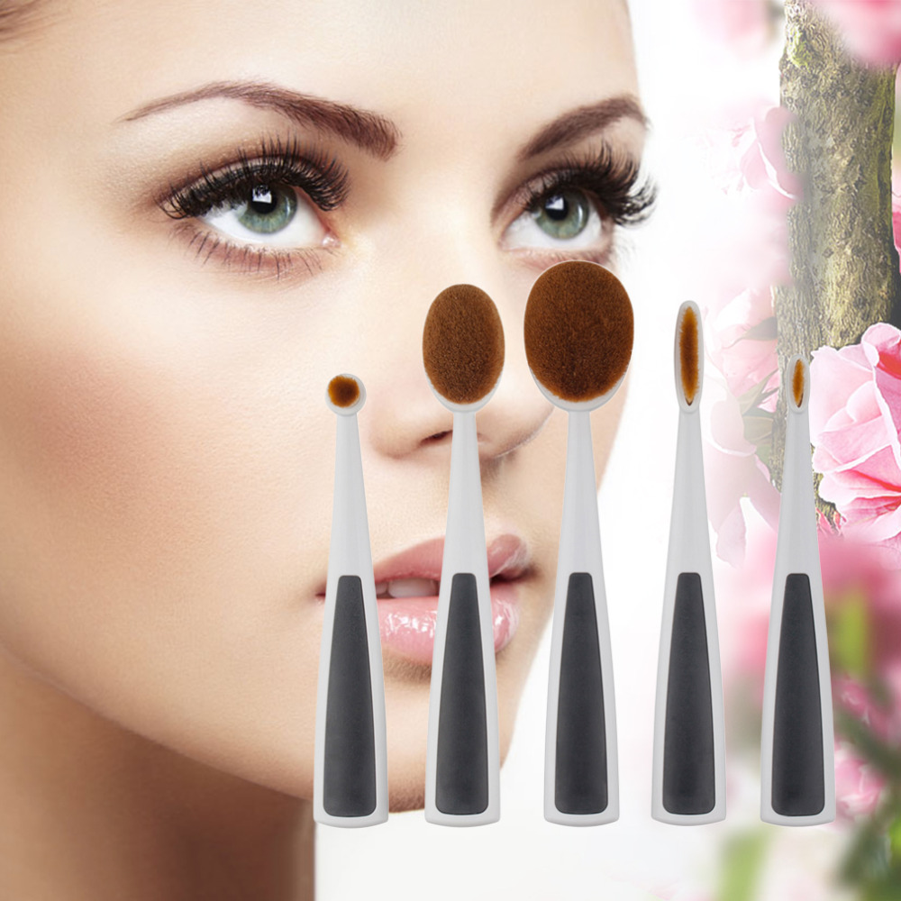 5pcs Toothbrush Style Make Up Tools Cosmetic Brushes Oval/Linear/Circle Kabuki Brush Set Hot Selling