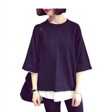 2019 1/2 long sleeve oversized shirt plus size o-neck shirts summer clothes for women streetwear t-shirt casual tee
