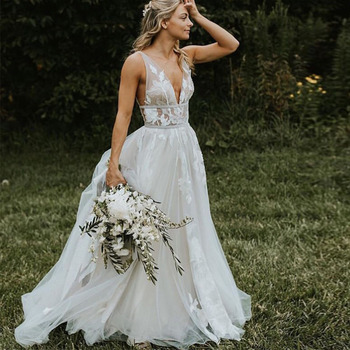 Sexy Illusion Bodice Wedding Dresses V-neck Sleeveless Vestido De Noiva Backless Covered Button White Ivory Wedding Gowns