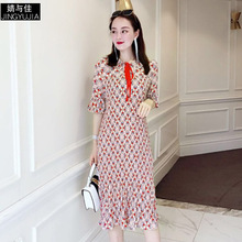 Dress Summer Woman 2019 New Fashion Printed Turn Down Collar Bow Half Sleeves Slim Pleated Casual Dress Over The Knees  S-XL dress summer woman 2019 new turn down collar batwing sleeves solid color slim drawstring waist a line casual dress midi s xl