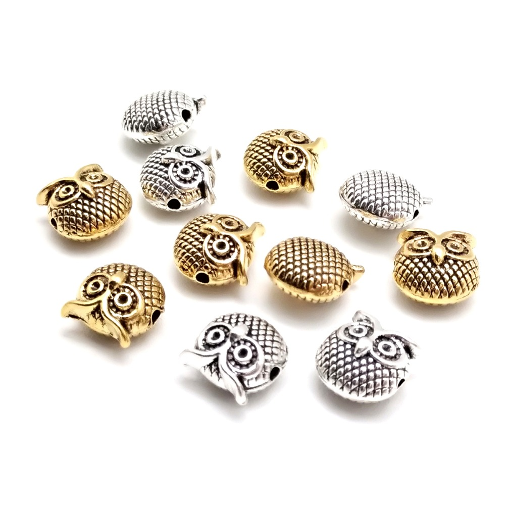 BULK 50 Owl spacer beads antique silver and antique copper tone B251